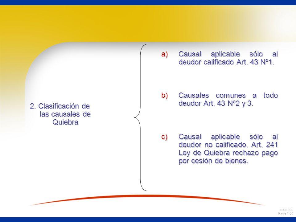 03/00/00 Page # 64 2. Clasificación de las causales de Quiebra a)Causal aplicable sólo al deudor calificado Art. 43 Nº1. b)Causales comunes a todo deu