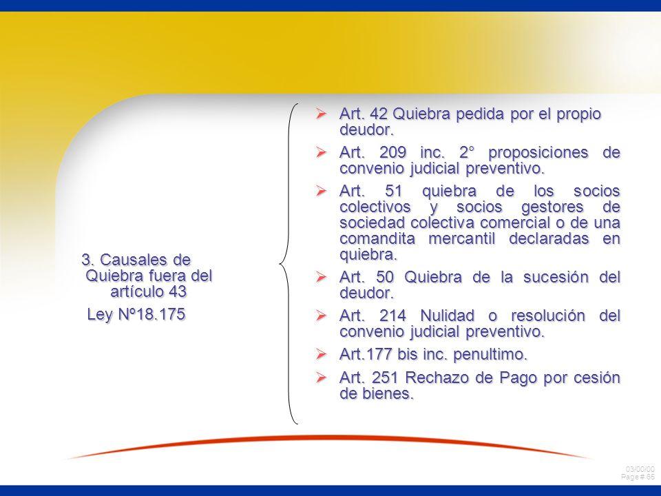 03/00/00 Page # 65 3. Causales de Quiebra fuera del artículo 43 Ley Nº18.175 Art. 42 Quiebra pedida por el propio deudor. Art. 42 Quiebra pedida por e