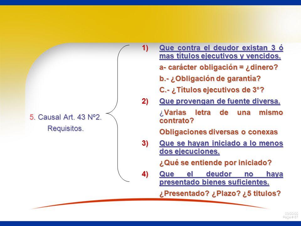 03/00/00 Page # 67 5. Causal Art. 43 Nº2. Requisitos. 1)Que contra el deudor existan 3 ó mas títulos ejecutivos y vencidos. a- carácter obligación = ¿