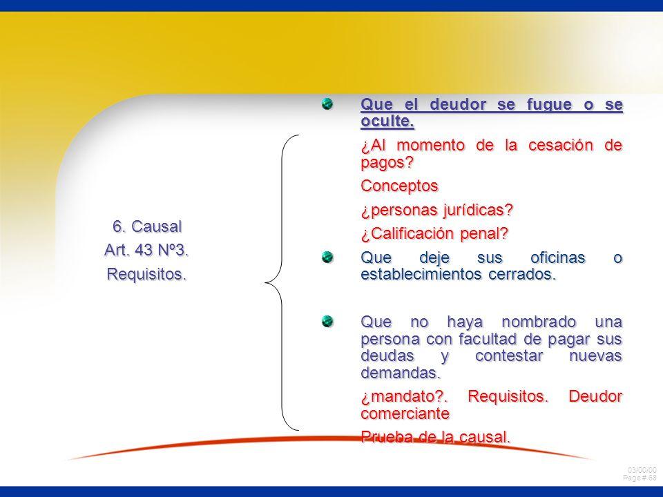 03/00/00 Page # 68 6. Causal Art. 43 Nº3. Requisitos. Que el deudor se fugue o se oculte. ¿Al momento de la cesación de pagos? Conceptos ¿personas jur