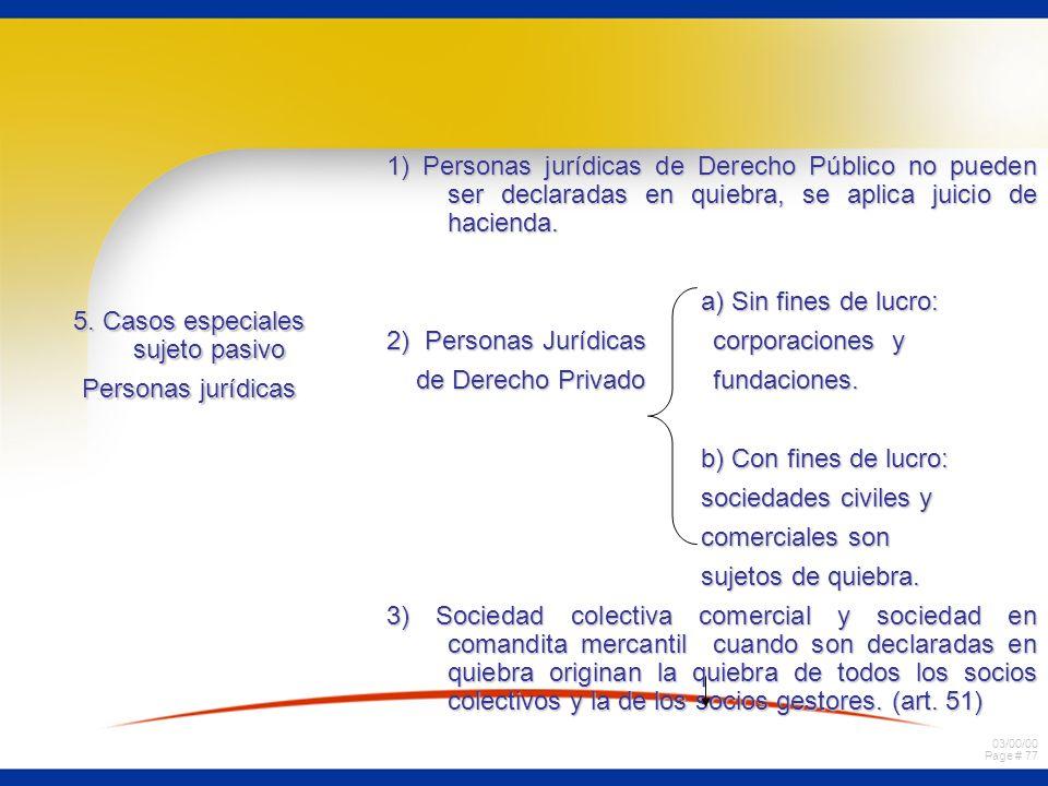 03/00/00 Page # 77 5. Casos especiales sujeto pasivo Personas jurídicas 1) Personas jurídicas de Derecho Público no pueden ser declaradas en quiebra,