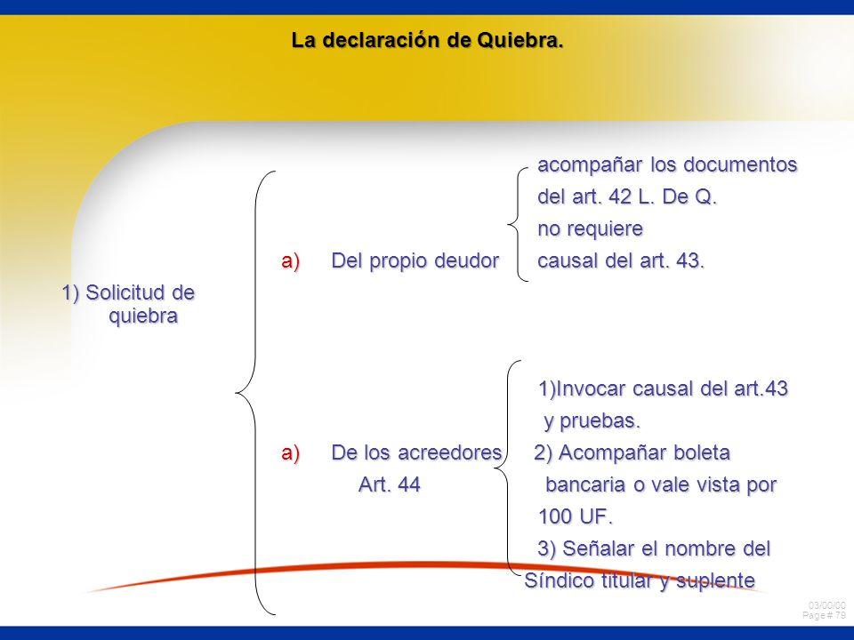 03/00/00 Page # 79 La declaración de Quiebra. 1) Solicitud de quiebra acompañar los documentos acompañar los documentos del art. 42 L. De Q. del art.