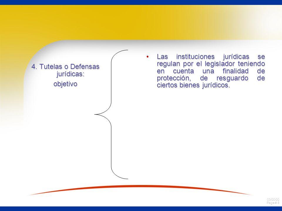 03/00/00 Page # 8 4. Tutelas o Defensas jurídicas: objetivo Las instituciones jurídicas se regulan por el legislador teniendo en cuenta una finalidad