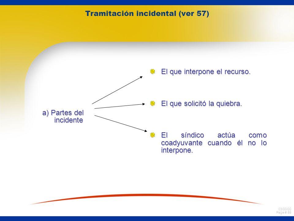 03/00/00 Page # 89 a) Partes del incidente El que interpone el recurso. El que solicitó la quiebra. El síndico actúa como coadyuvante cuando él no lo
