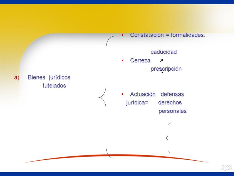 03/00/00 Page # 9 a)Bienes jurídicos tutelados Constatación = formalidades.Constatación = formalidades. caducidad caducidad CertezaCerteza prescripció