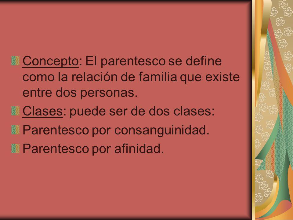 Concepto: El parentesco se define como la relación de familia que existe entre dos personas. Clases: puede ser de dos clases: Parentesco por consangui