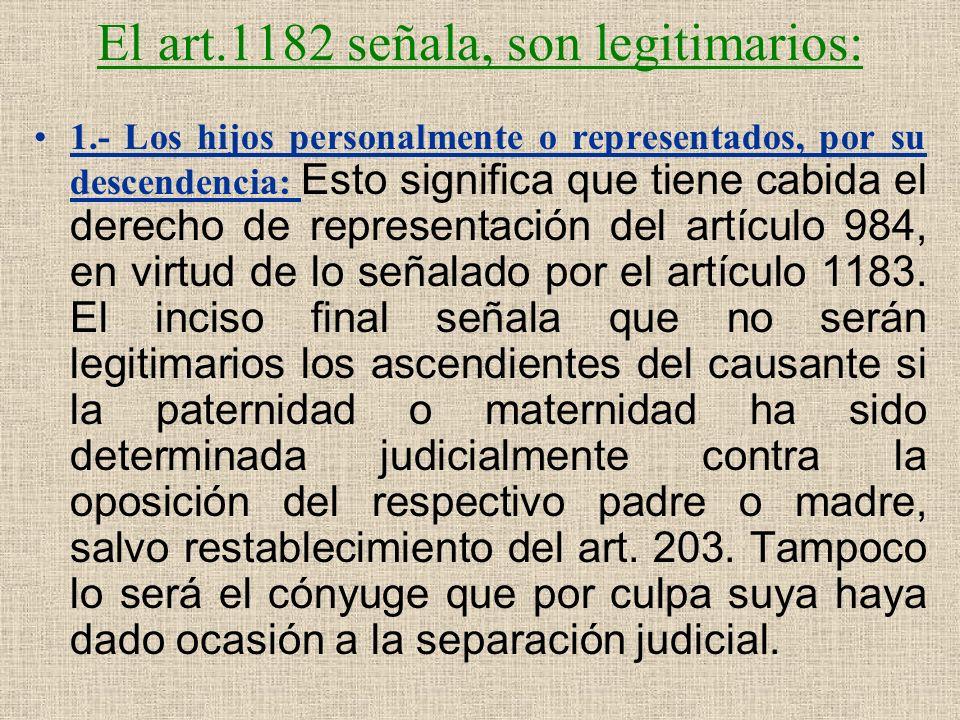 El art.1182 señala, son legitimarios: 1.- Los hijos personalmente o representados, por su descendencia: Esto significa que tiene cabida el derecho de
