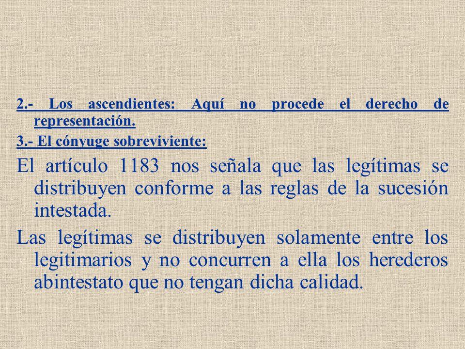 2.- Los ascendientes: Aquí no procede el derecho de representación. 3.- El cónyuge sobreviviente: El artículo 1183 nos señala que las legítimas se dis