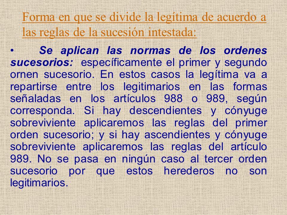 Forma en que se divide la legítima de acuerdo a las reglas de la sucesión intestada: Se aplican las normas de los ordenes sucesorios: específicamente