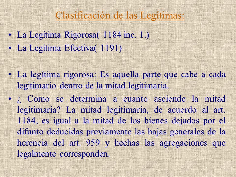 Clasificación de las Legítimas: La Legítima Rigorosa( 1184 inc. 1.) La Legítima Efectiva( 1191) La legítima rigorosa: Es aquella parte que cabe a cada
