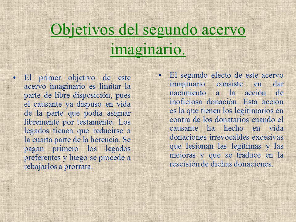 Objetivos del segundo acervo imaginario. El primer objetivo de este acervo imaginario es limitar la parte de libre disposición, pues el causante ya di