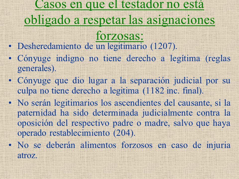 Casos en que el testador no está obligado a respetar las asignaciones forzosas: Desheredamiento de un legitimario (1207). Cónyuge indigno no tiene der