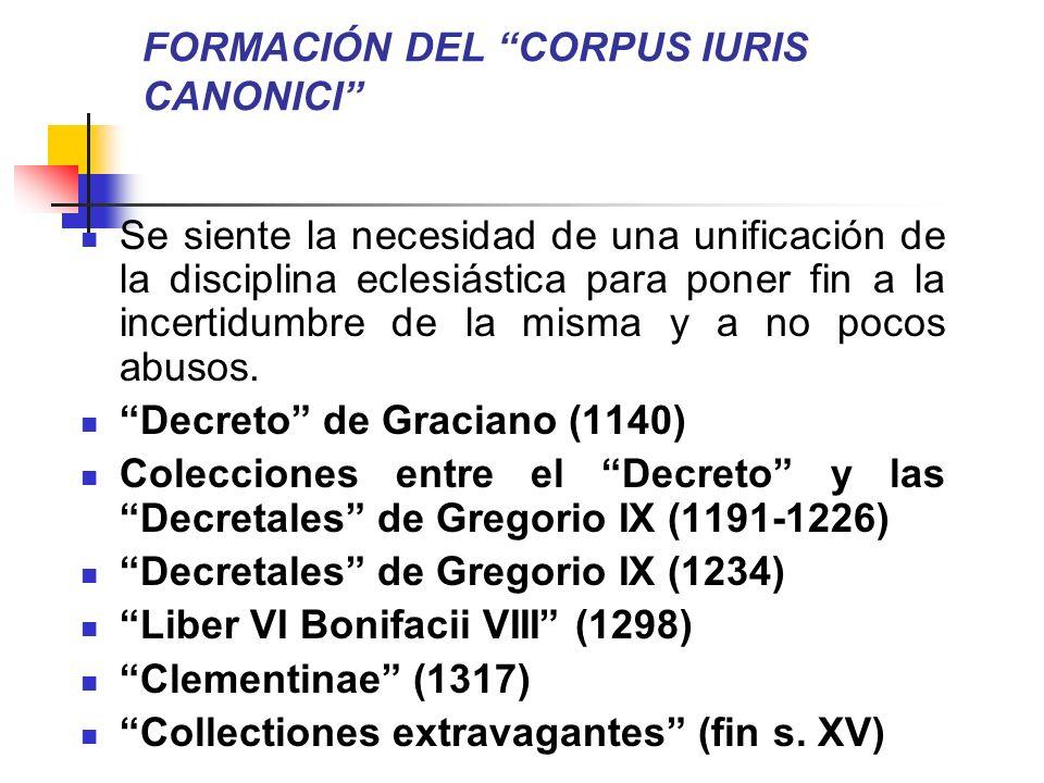 FORMACIÓN DEL CORPUS IURIS CANONICI Se siente la necesidad de una unificación de la disciplina eclesiástica para poner fin a la incertidumbre de la mi