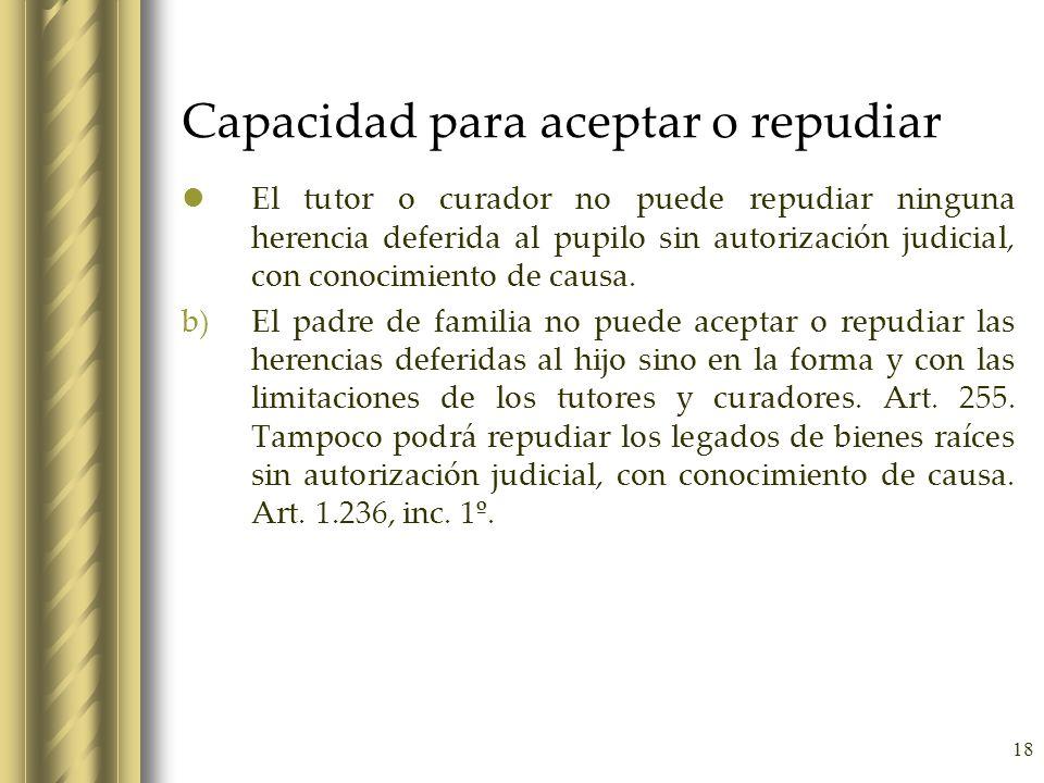 18 Capacidad para aceptar o repudiar El tutor o curador no puede repudiar ninguna herencia deferida al pupilo sin autorización judicial, con conocimie