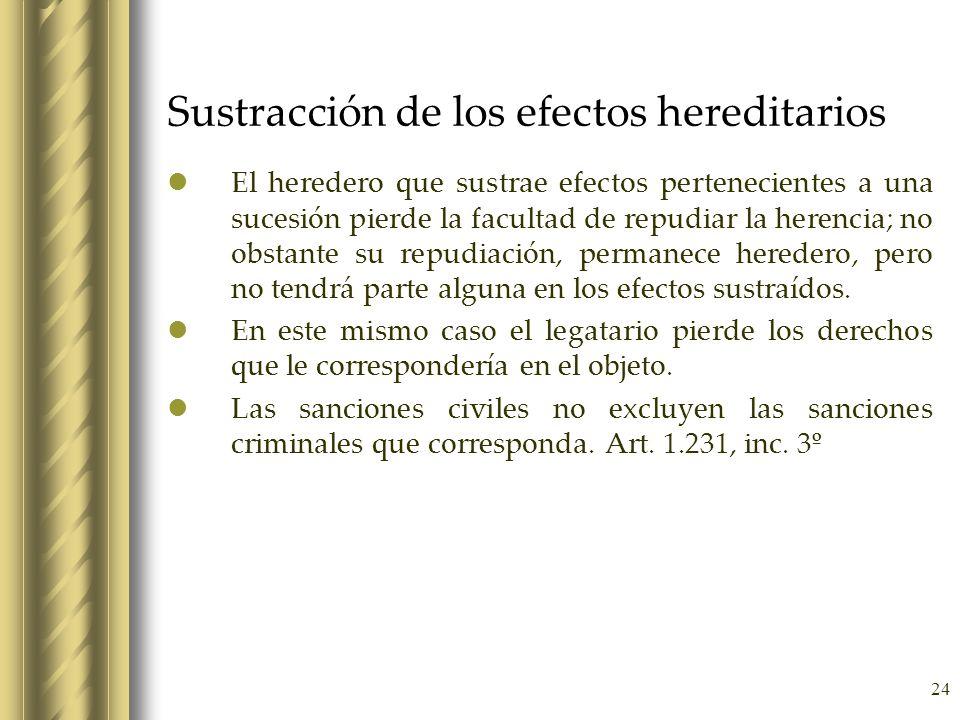 24 Sustracción de los efectos hereditarios El heredero que sustrae efectos pertenecientes a una sucesión pierde la facultad de repudiar la herencia; n