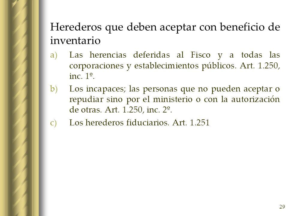 29 Herederos que deben aceptar con beneficio de inventario a)Las herencias deferidas al Fisco y a todas las corporaciones y establecimientos públicos.