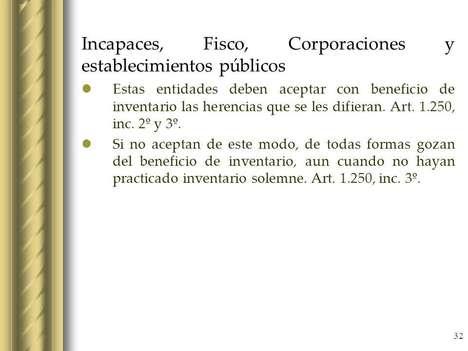 32 Incapaces, Fisco, Corporaciones y establecimientos públicos Estas entidades deben aceptar con beneficio de inventario las herencias que se les difi
