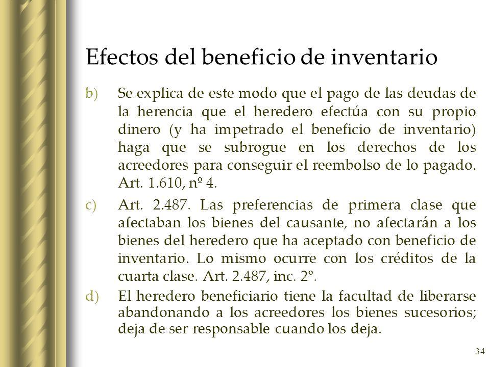 34 Efectos del beneficio de inventario b)Se explica de este modo que el pago de las deudas de la herencia que el heredero efectúa con su propio dinero