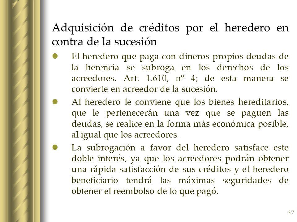 37 Adquisición de créditos por el heredero en contra de la sucesión El heredero que paga con dineros propios deudas de la herencia se subroga en los d