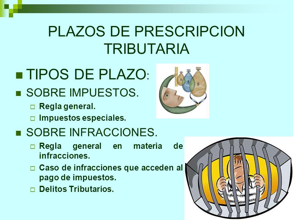13 PLAZOS DE PRESCRIPCION TRIBUTARIA TIPOS DE PLAZO : SOBRE IMPUESTOS. Regla general. Impuestos especiales. SOBRE INFRACCIONES. Regla general en mater