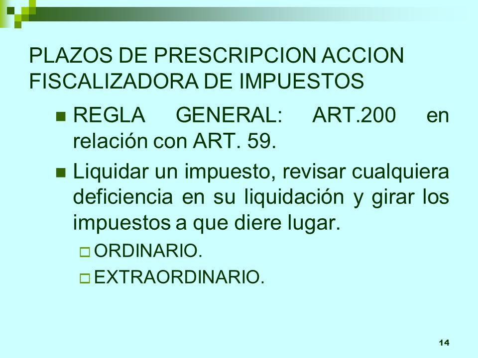 14 PLAZOS DE PRESCRIPCION ACCION FISCALIZADORA DE IMPUESTOS REGLA GENERAL: ART.200 en relación con ART.