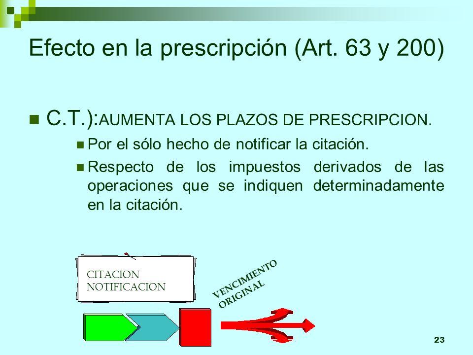 23 Efecto en la prescripción (Art. 63 y 200) C.T.): AUMENTA LOS PLAZOS DE PRESCRIPCION. Por el sólo hecho de notificar la citación. Respecto de los im