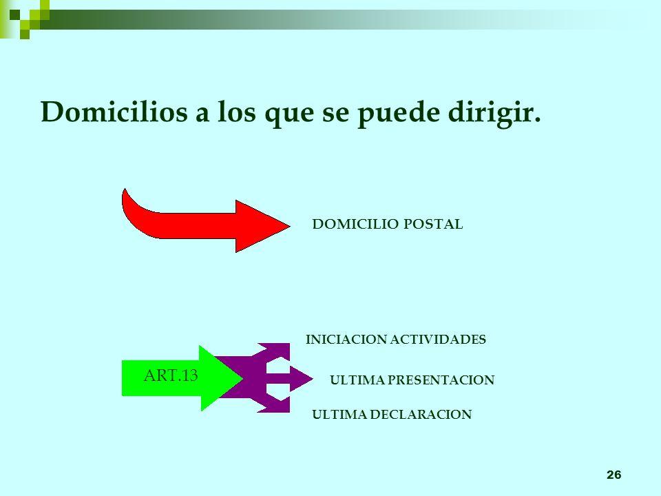 26 Domicilios a los que se puede dirigir. DOMICILIO POSTAL INICIACION ACTIVIDADES ULTIMA PRESENTACION ULTIMA DECLARACION ART.13