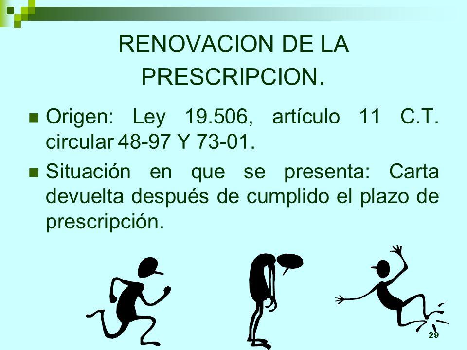 29 RENOVACION DE LA PRESCRIPCION. Origen: Ley 19.506, artículo 11 C.T. circular 48-97 Y 73-01. Situación en que se presenta: Carta devuelta después de