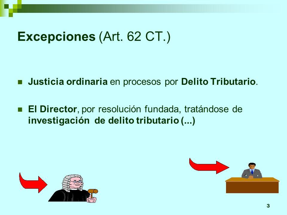 3 Excepciones (Art. 62 CT.) Justicia ordinaria en procesos por Delito Tributario. El Director, por resolución fundada, tratándose de investigación de