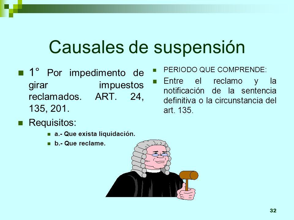 32 Causales de suspensión 1° Por impedimento de girar impuestos reclamados. ART. 24, 135, 201. Requisitos: a.- Que exista liquidación. b.- Que reclame