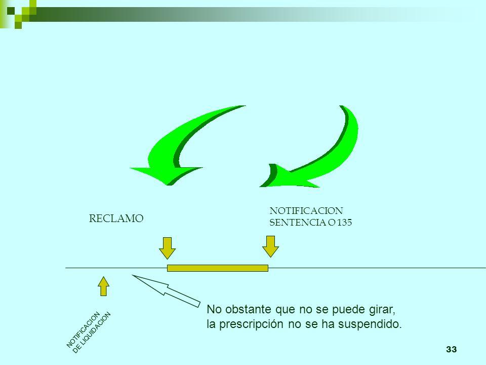 33 RECLAMO NOTIFICACION SENTENCIA O 135 NOTIFICACION DE LIQUIDACION No obstante que no se puede girar, la prescripción no se ha suspendido.