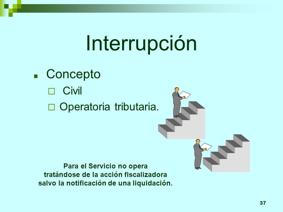 37 Interrupción Concepto Civil Operatoria tributaria. Para el Servicio no opera tratándose de la acción fiscalizadora salvo la notificación de una liq