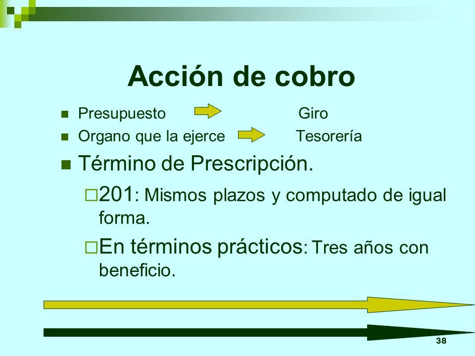38 Acción de cobro Presupuesto Giro Organo que la ejerce Tesorería Término de Prescripción. 201 : Mismos plazos y computado de igual forma. En término