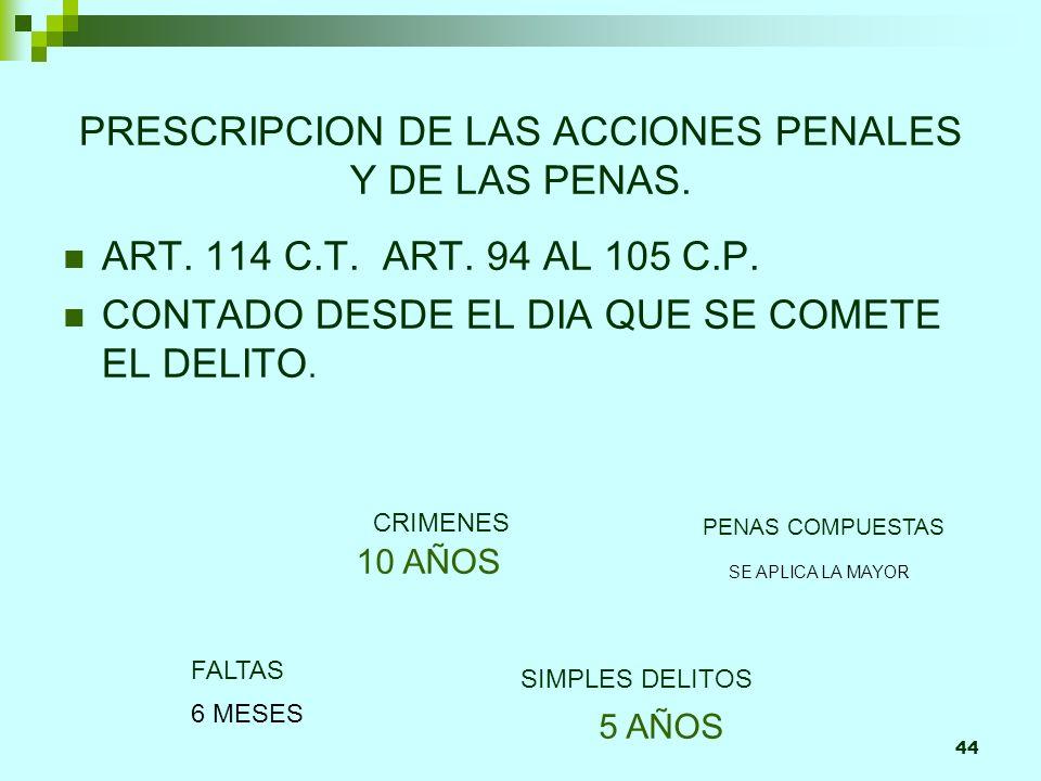 44 10 AÑOS PRESCRIPCION DE LAS ACCIONES PENALES Y DE LAS PENAS. ART. 114 C.T. ART. 94 AL 105 C.P. CONTADO DESDE EL DIA QUE SE COMETE EL DELITO. CRIMEN