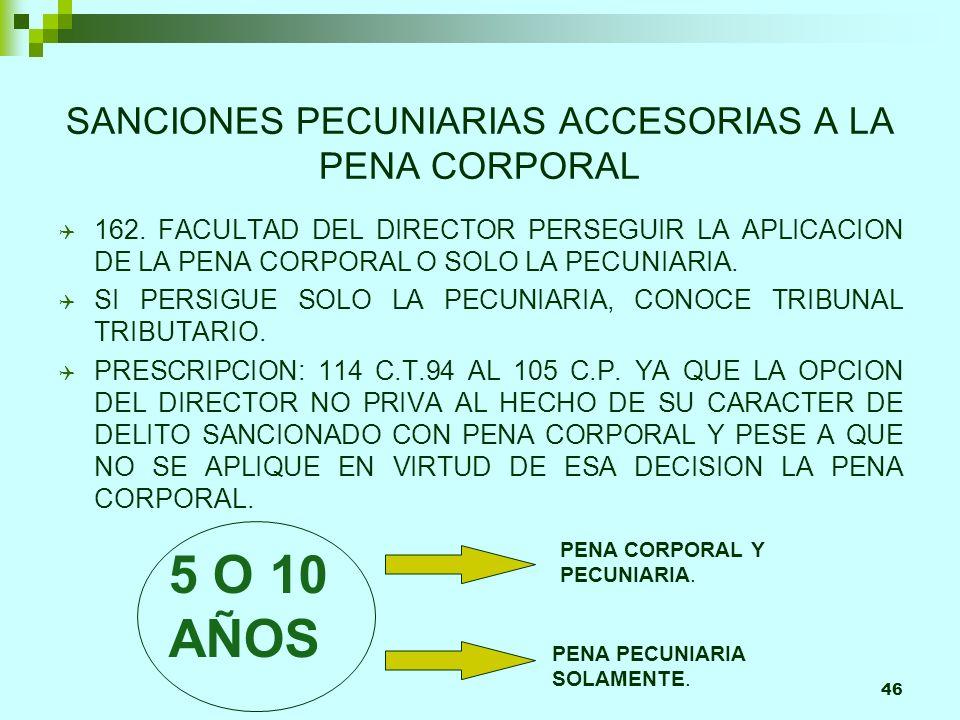 46 SANCIONES PECUNIARIAS ACCESORIAS A LA PENA CORPORAL Q 162. FACULTAD DEL DIRECTOR PERSEGUIR LA APLICACION DE LA PENA CORPORAL O SOLO LA PECUNIARIA.