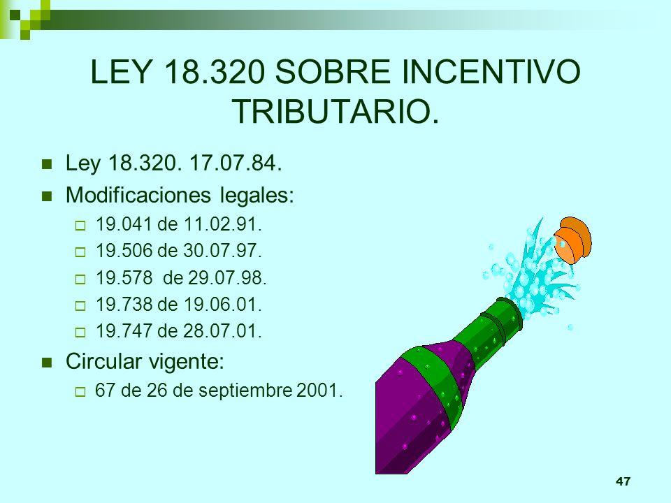 47 LEY 18.320 SOBRE INCENTIVO TRIBUTARIO.Ley 18.320.