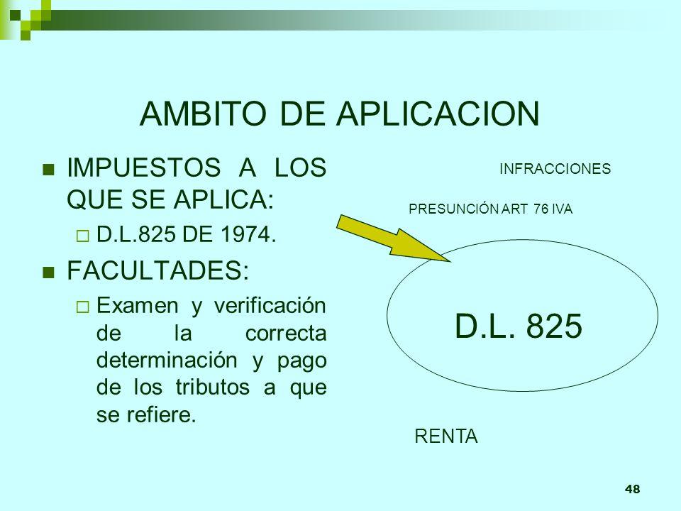 48 AMBITO DE APLICACION IMPUESTOS A LOS QUE SE APLICA: D.L.825 DE 1974. FACULTADES: Examen y verificación de la correcta determinación y pago de los t