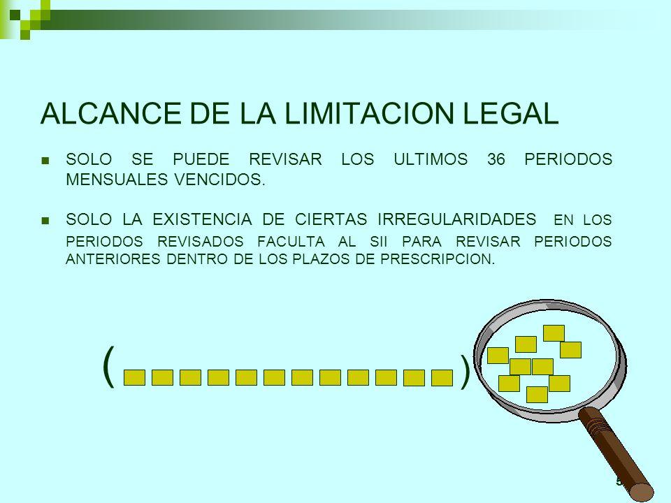 50 ALCANCE DE LA LIMITACION LEGAL SOLO SE PUEDE REVISAR LOS ULTIMOS 36 PERIODOS MENSUALES VENCIDOS. SOLO LA EXISTENCIA DE CIERTAS IRREGULARIDADES EN L