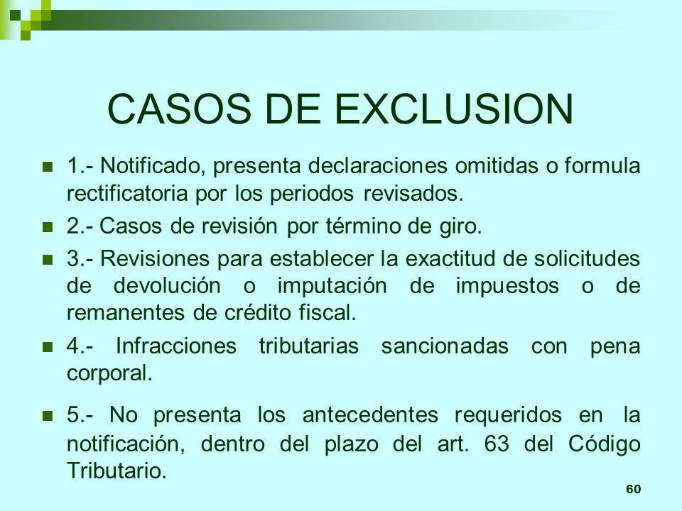 60 CASOS DE EXCLUSION 1.- Notificado, presenta declaraciones omitidas o formula rectificatoria por los periodos revisados. 2.- Casos de revisión por t
