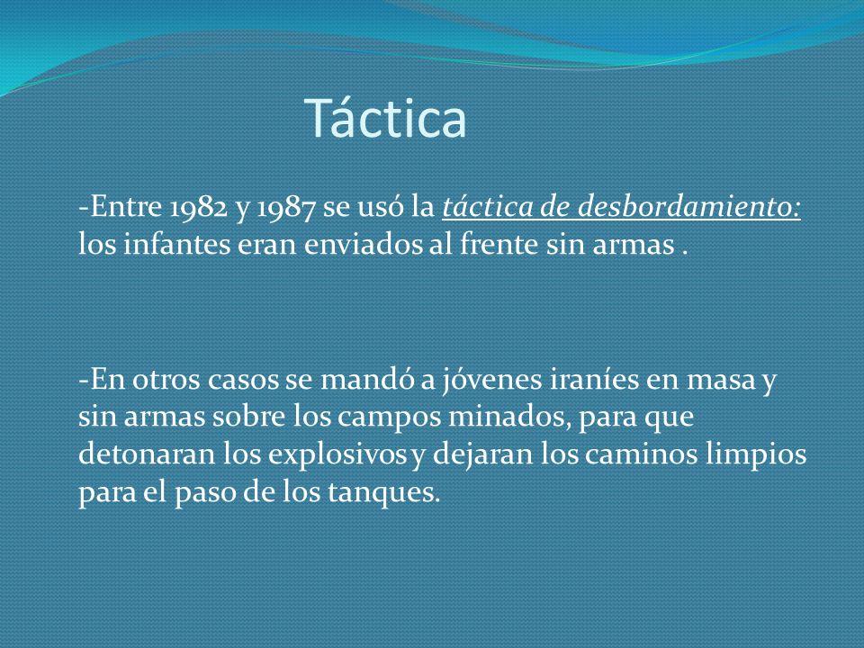 Táctica -Entre 1982 y 1987 se usó la táctica de desbordamiento: los infantes eran enviados al frente sin armas. -En otros casos se mandó a jóvenes ira