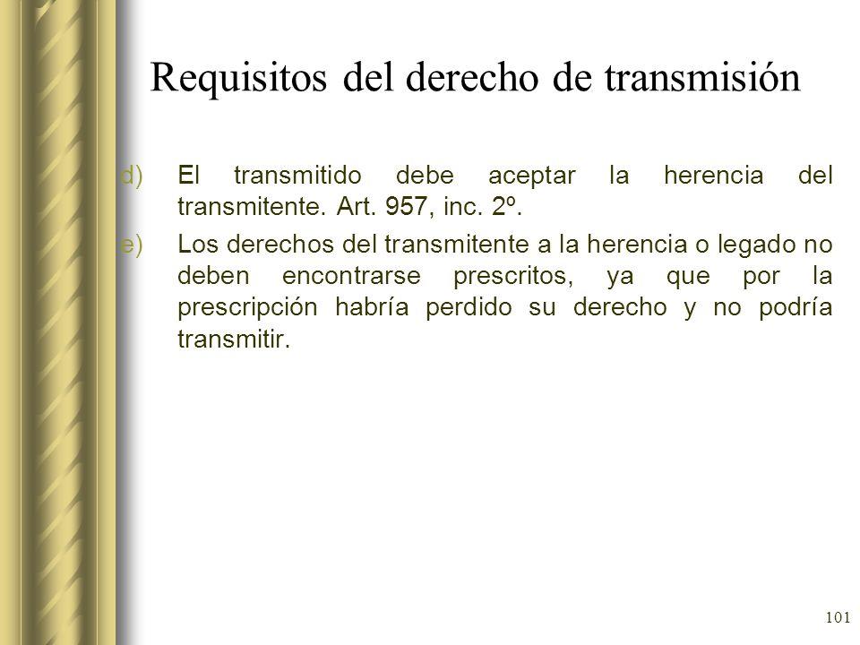 101 Requisitos del derecho de transmisión d)El transmitido debe aceptar la herencia del transmitente. Art. 957, inc. 2º. e)Los derechos del transmiten