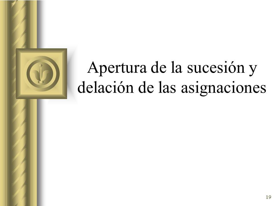 19 Apertura de la sucesión y delación de las asignaciones