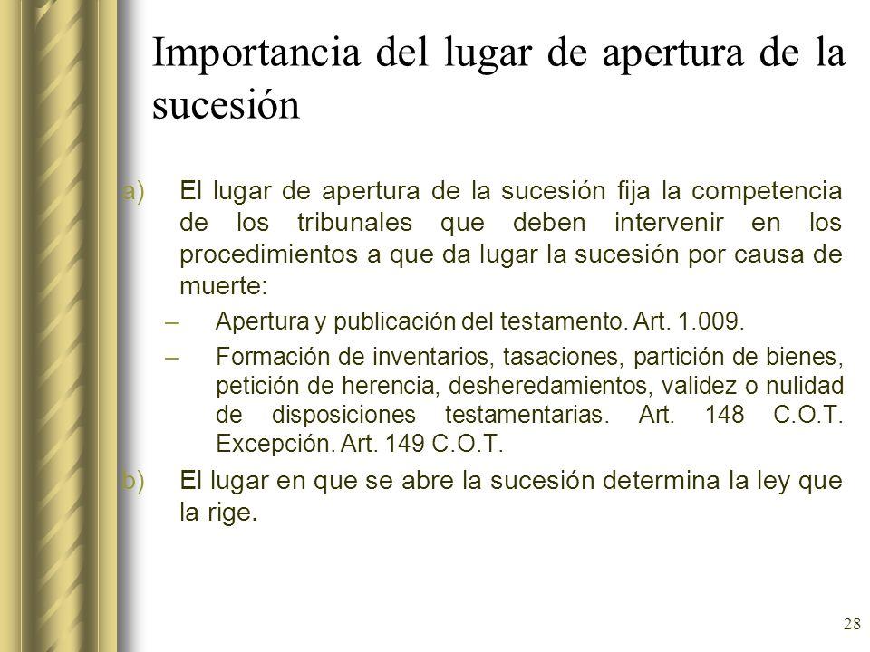 28 Importancia del lugar de apertura de la sucesión a)El lugar de apertura de la sucesión fija la competencia de los tribunales que deben intervenir e