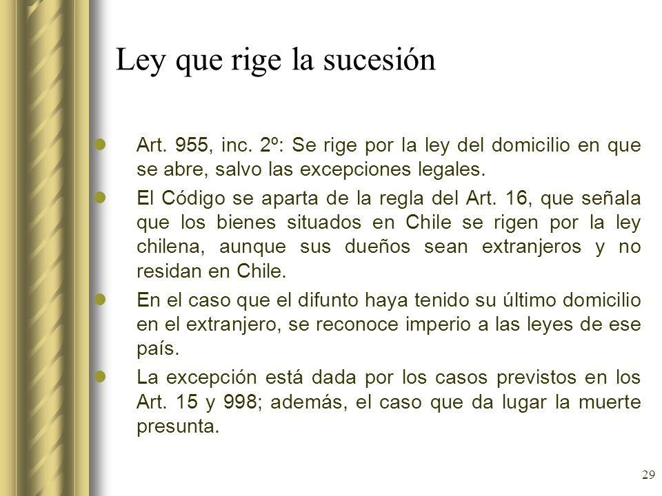 29 Ley que rige la sucesión Art. 955, inc. 2º: Se rige por la ley del domicilio en que se abre, salvo las excepciones legales. El Código se aparta de