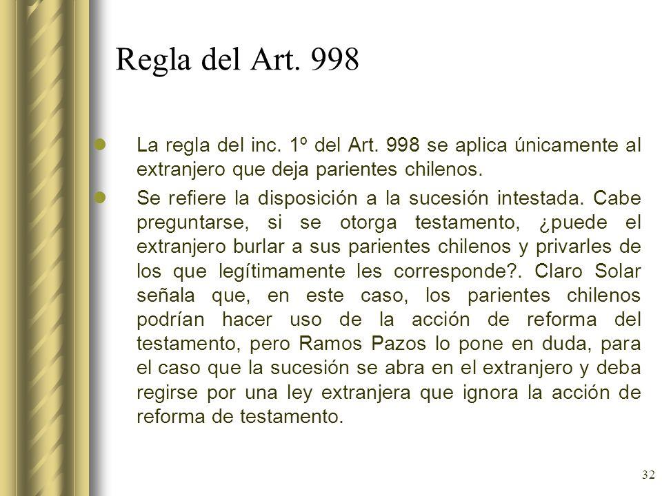 32 Regla del Art. 998 La regla del inc. 1º del Art. 998 se aplica únicamente al extranjero que deja parientes chilenos. Se refiere la disposición a la