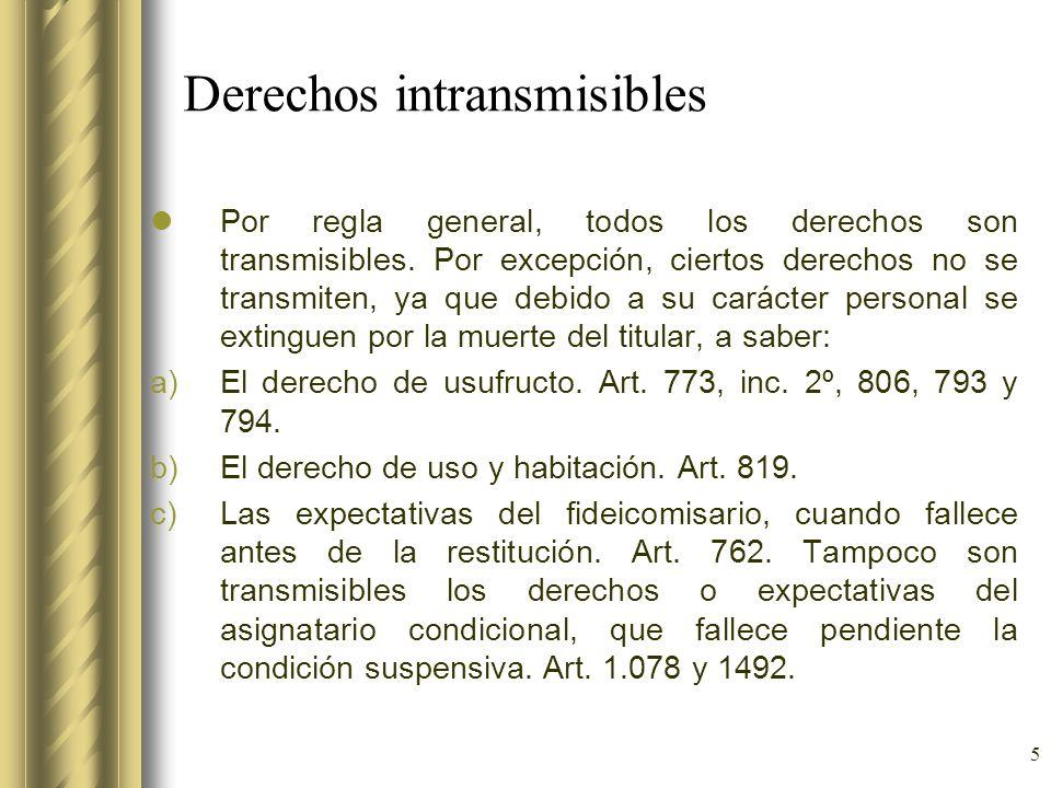 5 Derechos intransmisibles Por regla general, todos los derechos son transmisibles. Por excepción, ciertos derechos no se transmiten, ya que debido a