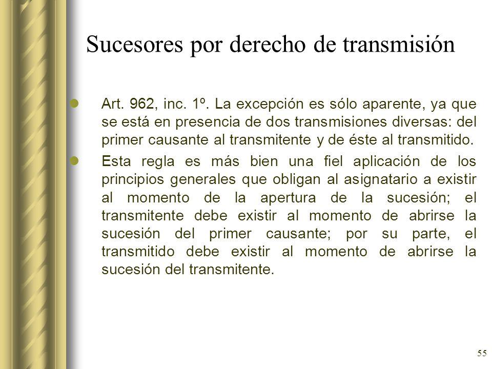 55 Sucesores por derecho de transmisión Art. 962, inc. 1º. La excepción es sólo aparente, ya que se está en presencia de dos transmisiones diversas: d