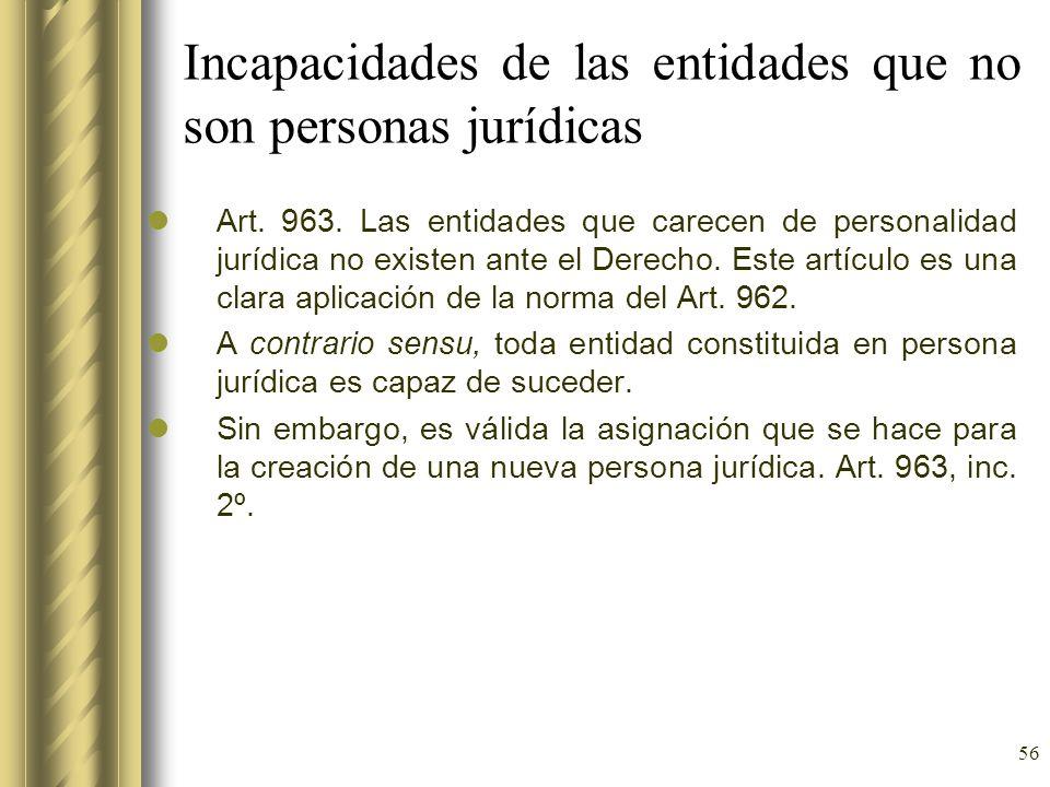 56 Incapacidades de las entidades que no son personas jurídicas Art. 963. Las entidades que carecen de personalidad jurídica no existen ante el Derech