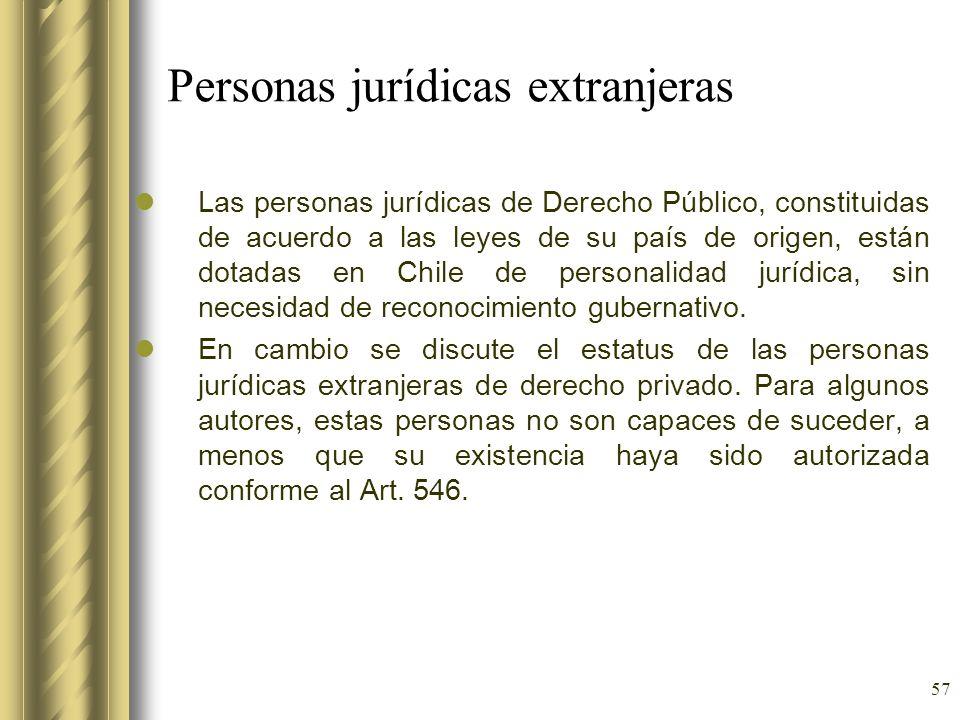 57 Personas jurídicas extranjeras Las personas jurídicas de Derecho Público, constituidas de acuerdo a las leyes de su país de origen, están dotadas e