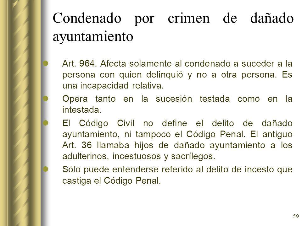 59 Condenado por crimen de dañado ayuntamiento Art. 964. Afecta solamente al condenado a suceder a la persona con quien delinquió y no a otra persona.